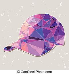 καπέλο του μπέηζμπολ , γινώμενος , τρίγωνο , retro