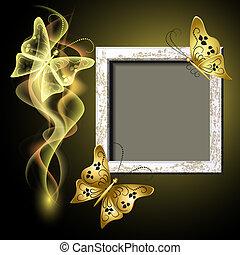 καπνός , κορνίζα , φωτογραφία , πεταλούδες , φόντο , grungy