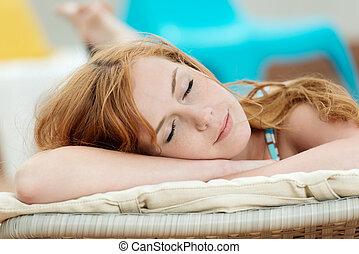 καρέκλα , γυναίκα , κοιμάται , κατάστρωμα