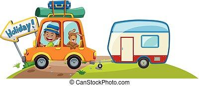 καραβάνι , αυτοκίνητο , αποσκευέs