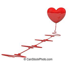 καρδιά , άσπρο , απομονωμένος , καρδιοχτύπι
