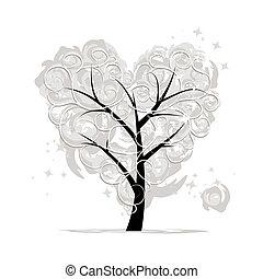 καρδιά , αγάπη , δέντρο , σχήμα , σχεδιάζω , δικό σου