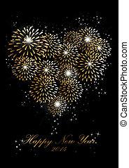 καρδιά , αγάπη , πυροτεχνήματα , καινούργιος , φόντο , έτος , 2014, ευτυχισμένος