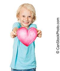καρδιά , αγάπη , χαριτωμένος , αγόρι , νέος , κράτημα , χαμογελαστά
