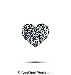 καρδιά , αγάπη , vector., σήμα , butterflies., βαλεντίνη , σύμβολο. , απομονωμένος , φόντο , έμβλημα , άσπρο , shadow., ημέρα