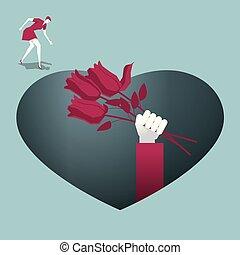 καρδιά , ακουμπώ , σχηματισμένος , τεντώνω , τριαντάφυλλο , εις , άκρη , παίρνω , γυναίκα , trap., δείγματα