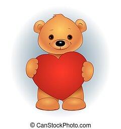 καρδιά , αρκουδάκι , κράτημα , καφέ