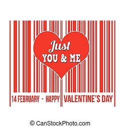 καρδιά , βαλεντίνη , εσωτερικός , barcode , ημέρα , ευτυχισμένος