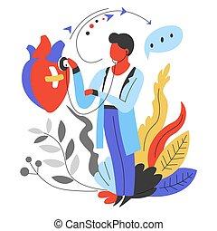 καρδιά , γιατρός , αναλογία , καρδιολόγος , ακούω , φάρμακο...