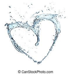 καρδιά , γινώμενος , σύμβολο , απομονωμένος , νερό , αναβλύζω , φόντο , άσπρο