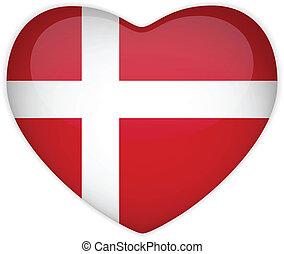 καρδιά , δανία , κουμπί , σημαία , λείος