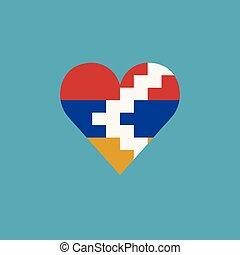 καρδιά , διαμέρισμα , σημαία , σχήμα , δημοκρατία , artsakh, σχεδιάζω , εικόνα