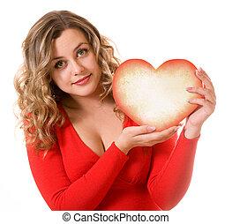 καρδιά , δώρο , μέσα , ο , ανάμιξη , από , ένα , αισθητικά ευχάριστος δεσποινάριο
