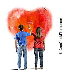 καρδιά , ζευγάρι , ζωγραφική