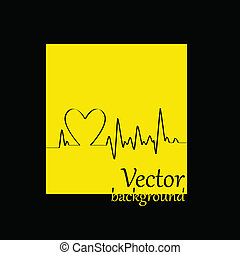 καρδιά , καρδιογράφημα , κίτρινο , κτυπώ , φόντο , άσπρο