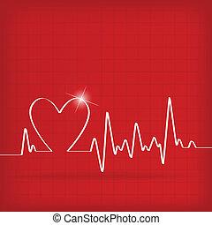 καρδιά , καρδιογράφημα , κτυπώ , φόντο , αγαθός αριστερός
