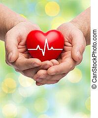 καρδιά , καρδιογράφημα , πάνω , αμπάρι ανάμιξη , κλείνω