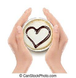 καρδιά , καφέs , hands., vector., κύπελο