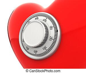 καρδιά , κλειδαριά , ακίνδυνος , αριθμητική , closeup , κόκκινο