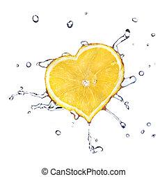 καρδιά , λεμόνι , απομονωμένος , νερό , αφήνω να πέσει , άσπρο