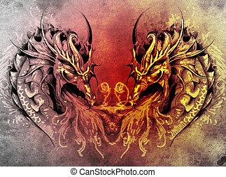 καρδιά , μεσαιονικός , τατουάζ , δράκοντας , φαντασία , τέχνη
