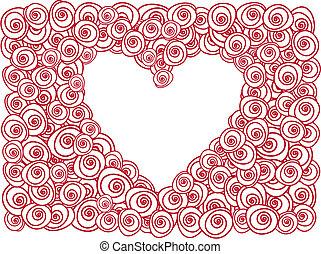 καρδιά , με , αριστερός τριαντάφυλλο