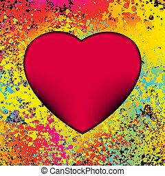καρδιά , με , grunge , φόντο. , eps , 8