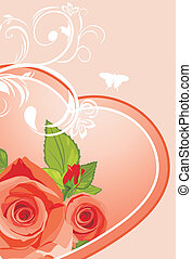 καρδιά , με , roses., φόντο