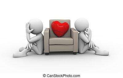καρδιά , οικογένεια , ανυπάκοος , σπασμένος , διαφωνώ , 3d
