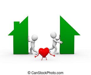 καρδιά , οικογένεια , αποχωρισμός , σπίτι , διαφωνώ , 3d
