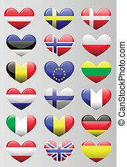 καρδιά , σημαίες , ευρωπαϊκός