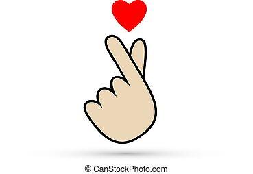 καρδιά , σύμβολο , χέρι , μικροβιοφορέας , κορεάτης , icon., χειρονομία