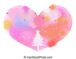 καρδιά , τέχνη , δέντρο , σύμβολο. , ψηφιακός , ζωγραφική , xριστούγεννα