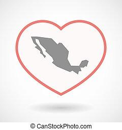 καρδιά , τέχνη , μεξικό , απομονωμένος , χάρτηs , γραμμή