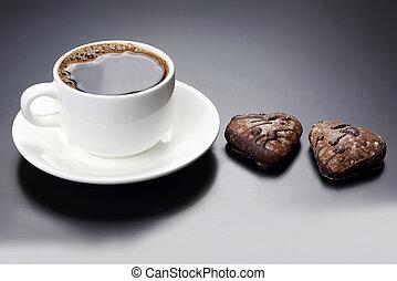 καρδιά , φλιτζάνι του καφέ , μαύρο , άσπρο , μπισκότο