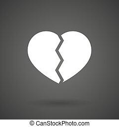 καρδιά , φόντο , εικόνα , σπασμένος , σκοτάδι , άσπρο