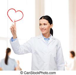 καρδιά , χαμογελαστά , γυναίκα , στίξη , γιατρός