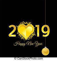 καρδιά , χρυσός , εικόνα , 2019, έτος , καινούργιος , ευτυχισμένος