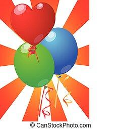 καρδιά , balloon, με , ξαφνική δυνατή ηλιακή λάμψη