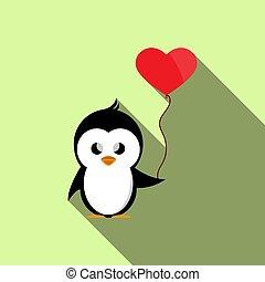 καρδιά , balloon, σχήμα , κράτημα , πιγκουίνος