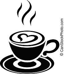 καρδιά , cappuccino , απομονωμένος , εικόνα , μικροβιοφορέας...