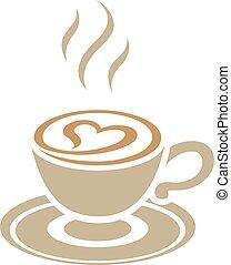 καρδιά , cappuccino , καφέ , απομονωμένος , εικόνα ,...