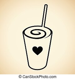 καρδιά , frappuccino, swirly , απομονωμένος , εικόνα ,...