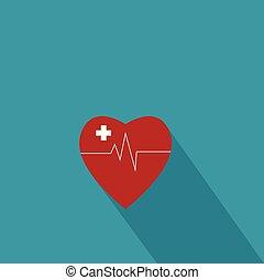 καρδιά , illustration., διαμέρισμα , ιατρικός , σταυρός , φαρμακευτική , μικροβιοφορέας , συν , καθιερώνων μόδα , style., κόκκινο , εικόνα