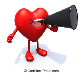 καρδιά , loudhailer , όπλα , αλαλάζω , γάμπα , στόμα