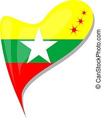 καρδιά , myanmar , κουμπί , αναπτύσσομαι. , σημαία , μικροβιοφορέας
