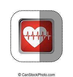 καρδιοχτύπι , έμβλημα , κόκκινο , εικόνα
