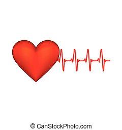 καρδιοχτύπι , αυτοκόλλητη ετικέτα , κόκκινο , εικόνα