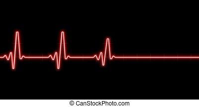 καρδιοχτύπι , επάνω , μαύρο φόντο
