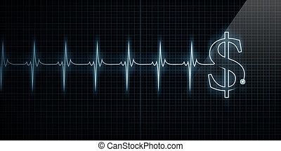 καρδιοχτύπι , οθόνη , με , δολάριο